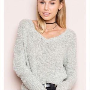 Brandy Melville Speckled Gray Vneck Knit Sweater